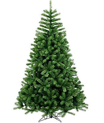 Christmas Tree Artificial Green Xmas Pine Tree Holiday Decoration for Home Office Party New Year w/Metal Stand and Hinges (6FT)