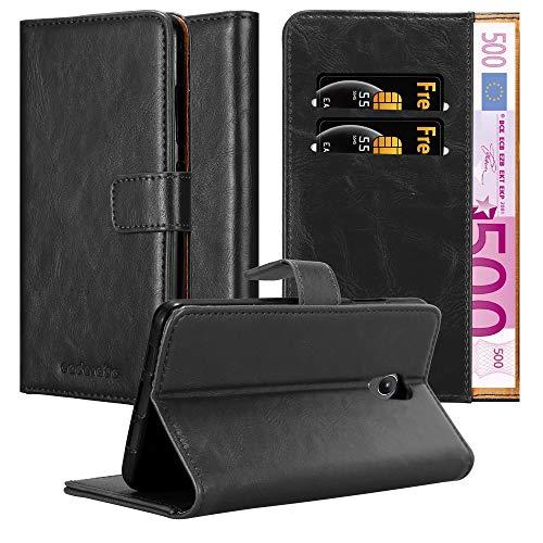 Cadorabo Hülle für Lenovo P2 in Graphit SCHWARZ – Handyhülle mit Magnetverschluss, Standfunktion und Kartenfach – Case Cover Schutzhülle Etui Tasche Book Klapp Style