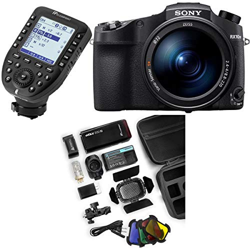 Sony Cyber-Shot DSC-RX10 IV 20.1MP Digital Camera, Black Bundle with Flashpoint eVOLV 200 TTL Pocket Flash, Flashpoint R2 Pro Transmitter