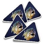 Pegatinas triangulares de vinilo (juego de 4) – Calcomanías divertidas de peces piranha para portátiles, tabletas, equipajes, reservas, neveras #13277