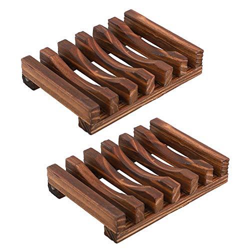2 stuks natuurlijke houten zeepbakjes/zeephouder zink deck badkuip douchebak rechthoekig, handwerk, natuurlijke houten houder voor sponzen wasgoed zeepbakje zeep holde badaccessoires (houtnerf