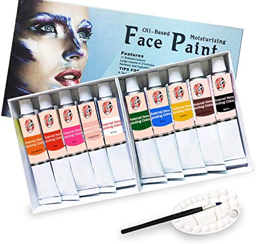 Lasten Face Paint Kit 10 Cols, Oil Based face and Body Painting Set for Kids & Adults Painting