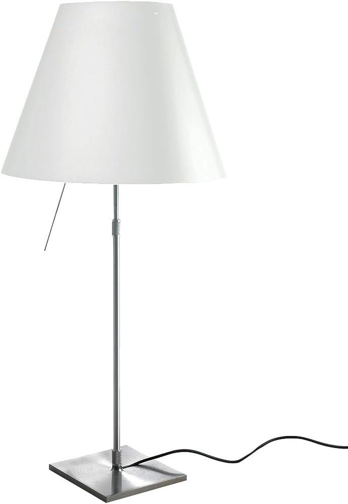 Luceplan costanza d13 c lampada da tavolo,con struttura in alluminio e paralume in policarbonato 1D13N=00C020A_ALLU/BIANCO