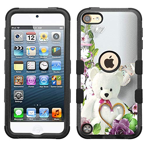 iPod Touch 7 Case,iPod Touch 6 Case, Hard+Rubber Dual Layer Hybrid Heavy-Duty Rugged Impact Cover Case for iPod Touch 5 6 7th - Teddy Bear #A