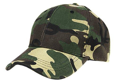Cappello da baseball unisex, regolabile, protezione UV, in cotone, traspirante, mimetico, per sport, campeggio, pesca, viaggi, tennis, golf, Uomo, Verde militare