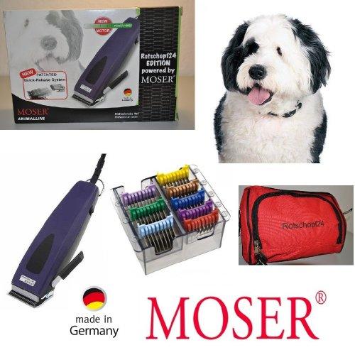Moser Rotschopf24 Edition: Starke Hunde - Schermaschine + acht Edelstahlaufsätze. Besonders stark und ratsam für dichtes/krauses/langes Fell. 40053