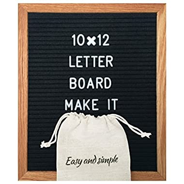 Black Felt Letter Board 10x12 inch/Best Changeable feltboard with 340 Letters Numbers & Symbols/Includes Stand Oak Wood Frame Bag and Wall Mount