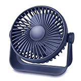 TriPole Desk Fan Small Table Fan Rechargeable Battery Operated Mini Fan 360 Degree Rotation 5.1 Inch Portable Fan 4 Speed USB Personal Fan for Home Office