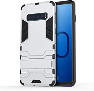 QFH Shockproof PC + TPU Case for Galaxy S10, with Holder (Black) new style phone case (Color : Silver)
