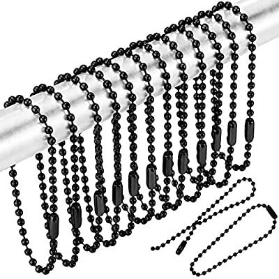 WILLBOND 100 Pieces Shower Curtain Hooks Rings Shower Hooks for Bathroom Shower Rods Curtains, Black, 6 Inch