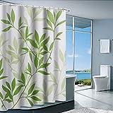 Duschvorhang mit Metallhaken, 182,9 x cm dick, strapazierfähiges Gewebe, Badezimmer-Duschvorhang-Set Haken, kein chemischer Geruch, rostwiderstandsfähige Ösen, moderne Heimdekorationen, grüne Blätter