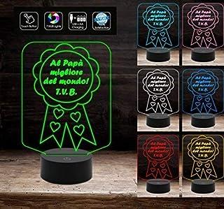 Idea regalo Festa del Papà e Compleanno Lampada led 7 colori coccarda con frase a batteria + cavo micro USB
