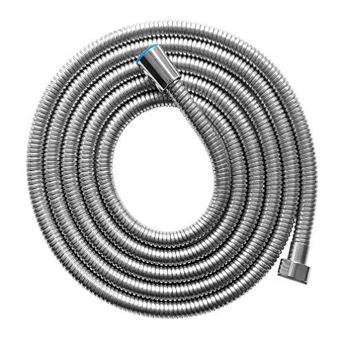 PTAPIPI Tubo doccia doppio interblocco in acciaio inossidabile, tubo flessibile per soffione doccia cromato con ottone (Long 3.0 Meters)