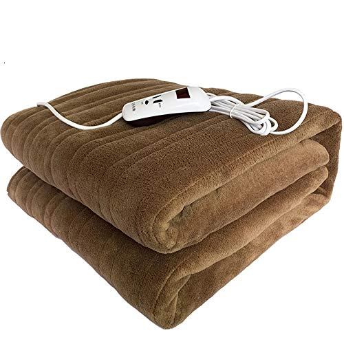 Kimcc Double Flannel Electric Heating Blanket,Washable Electric Heated Throws,4-Heat Settings/5 Gear Timing,Winter Heating Blanket Throw Electric,Fast Pain Relief for Back,Shoulder,Abdomen