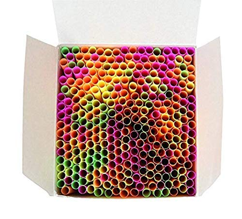 Wow Plastic Disposable Plastic Drinking Straws - 250 Count (neon) (Neon)