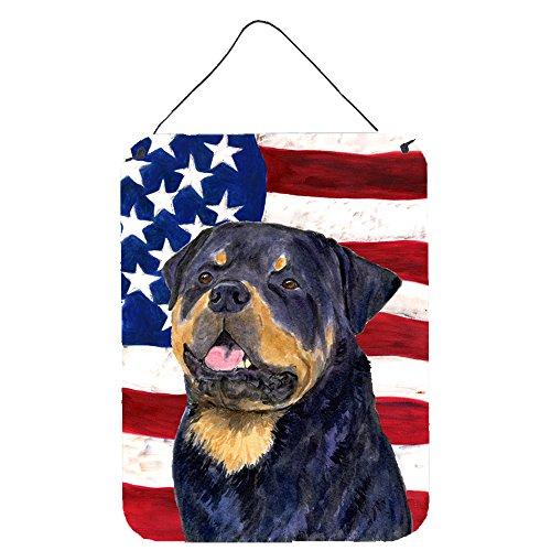 Caroline 's Treasures USA Amerikanische Flagge mit Rottweiler Aluminium Metall Wand oder Tür Aufhängen Prints, 40,6x 30,5cm Multicolor
