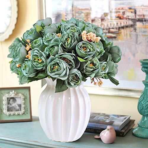 Xgruisi - Jarrón de cerámica con diseño de flores artificiales (látex,...
