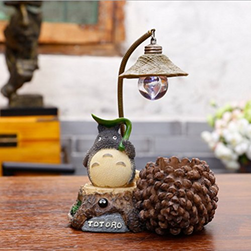 YOURNELO Miyazaki Hayao No Face Man Totoro Night Lamp Pen Pencil Holder Desk Organizer Accessories (C Pine Cone)