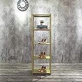 FURVOKIA Clothing Retail Heavy Duty Metal Display Rack,Floor-Standing Shoe Bag Plant Jewelry Shelves,Home Kitchen Bedroom Bathroom Office Storage Shelf (Gold Square Tube, 5-Tier)