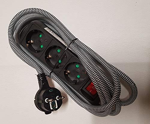 Steckdosenleiste mit Flachstecker Schalter 2,5 m lang Textilkabel geerdet 3 Fach Max 3680 W