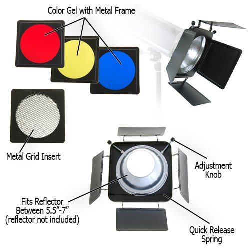 Fotodiox Fotodiox Universal Barndoor Kit with 45 Degree Honeycomb Grid & Color Gels, for Bowens Gemini Standard, Classica Powerpack, R Series, Rx Series and Pro Series Strobe Flash Light with 5.5-Inch - 7-Inch Reflector