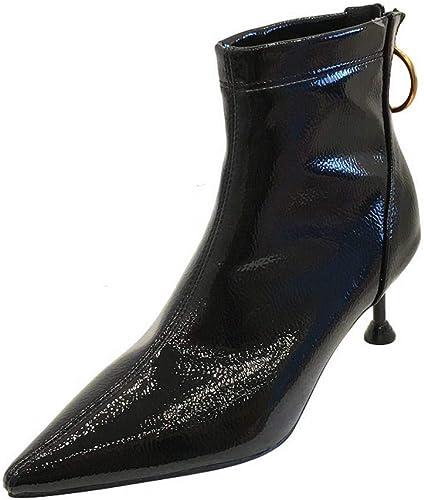 Sixminyo Stiefel Cortas de damen con Terciopelo Puntiagudo Stiefel Martin (Farbe   schwarz, Größe   38)