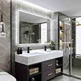 DecorVella 55 x 36 Inch LED Lighted Bathroom Mirror, Dimmable Backlit Wall Mounted Vanity Mirror, Anti-Fog Function, Color Temperature Adjustable, Rust-Proof&Water-Proof, Horizontal & Vertical