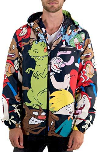 Members Only Men s Nickelodeon Mash Print Windbreaker Jacket-Black S