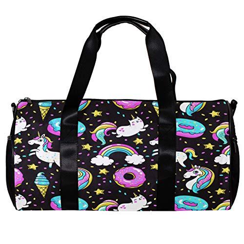 Bolsa de deporte redonda con correa de hombro desmontable, diseño de unicornio, Donut Rainbow Star, bolso de entrenamiento negro para mujeres y hombres
