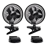 EVELYN 6-Inch Convertible Desk & Clip Fan Two Quiet Speeds, Strong Grip Clamp, Adjustable Tilt Table Fan, Ideal for Home, Office, Dorm, Black, 2PCS