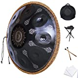 2021 New Handpan Drum Instrument In D Minor 10 Notes 22 Inches'D3/A3 Bb3 C4 D4 E4 F4 G4 A4' Steel Hand Pan Drums for Audio Production, Laser Engraving Not Fade (9 Sound black)