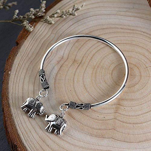 YBB-YB LXX-LX S925 Ladies Vintage Silver Bracelet Elephant Creative Carving Temperament Personality Gift Chinese Classic