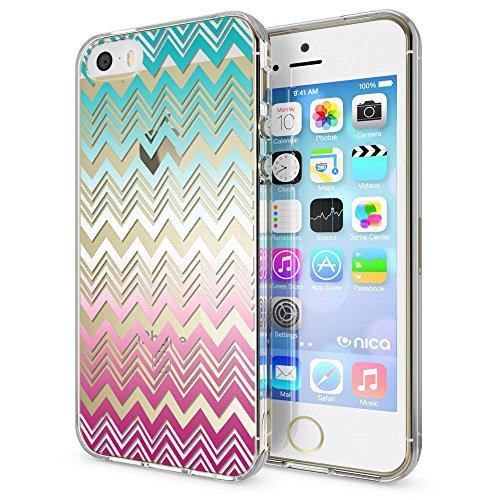 NALIA Custodia compatibile con iPhone SE 5 5S, Cover Protezione Silicone Trasparente Sottile Case, Gomma Morbido Cellulare Slim Protettiva Bumper Guscio, Motiv:Colorful Lines