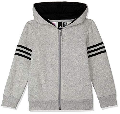 adidas Jungen Sports ID Full Zip Hood Kapuzen-Sweatshirt, Grey Heather/Black, 164