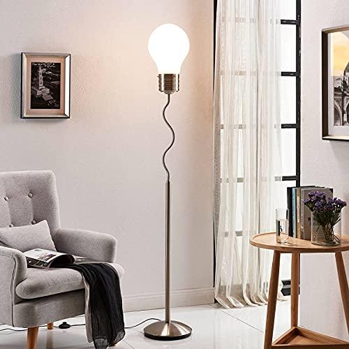 Lindby Stehlampe mit Schirm in Glühlampenform und Fußschalter | Stehleuchte 175 cm | Standleuchte Metall Glas | Stehleuchte Wohnzimmer, Schlafzimmer, Kinderzimmer