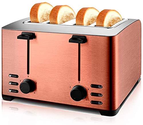Toaster 4 Scheibe, 5 Drehzahlverstellung, Auftauen Auftauen, leicht zu reinigen, für Bagels, Specialty Brot & andere Backwaren, bewegliche Hauptküche, Silber,Roségold