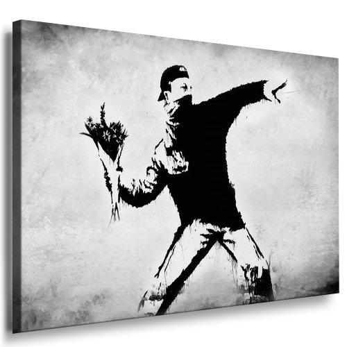 Fotoleinwand24 - Banksy Graffiti Art Flower Thrower / AA0102 / Bild auf Keilrahmen/Grau / 150x100 cm