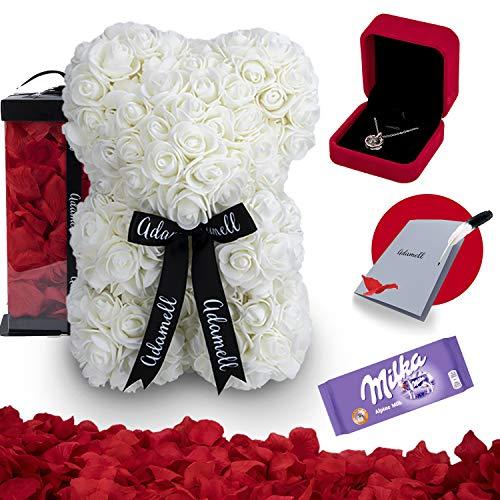 Rosen Teddybär 25cm mit geschenkbox, einzigartiges geschenk für frauen, freundin, kinder - Exklusiver Rosenbär zum Muttertag, Geburstag & Jahrestag - Blumen Teddy Bär voller rosenblätter (5 in 1) Weiß