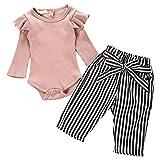 Emersom Baby-Hosen, 2-teiliges Set, gestrickt, gerüscht, lange Ärmel, Strampler, gestreift Gr. 86, rose
