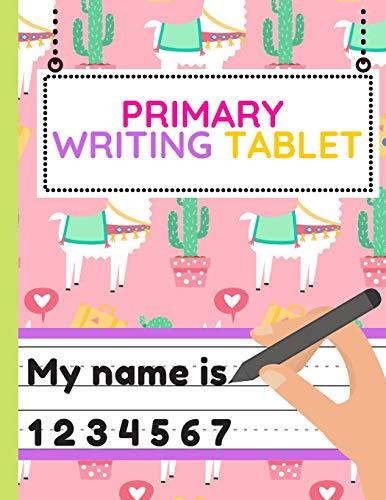 Primary Writing Tablet: Workbook of Dotted Lined Handwriting Practice Paper Sheet Book for Girl,Boy,Kid,Toddler,Preschool,Kindergarten,Nursery,Elementary - Beginner Writing Notebook (pink llamas)