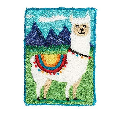 DIY Latch Hook Mattor Kit med tryckt virkade garn broderi dekoration för vuxna nybörjare - Alpaca 50 × 38cm