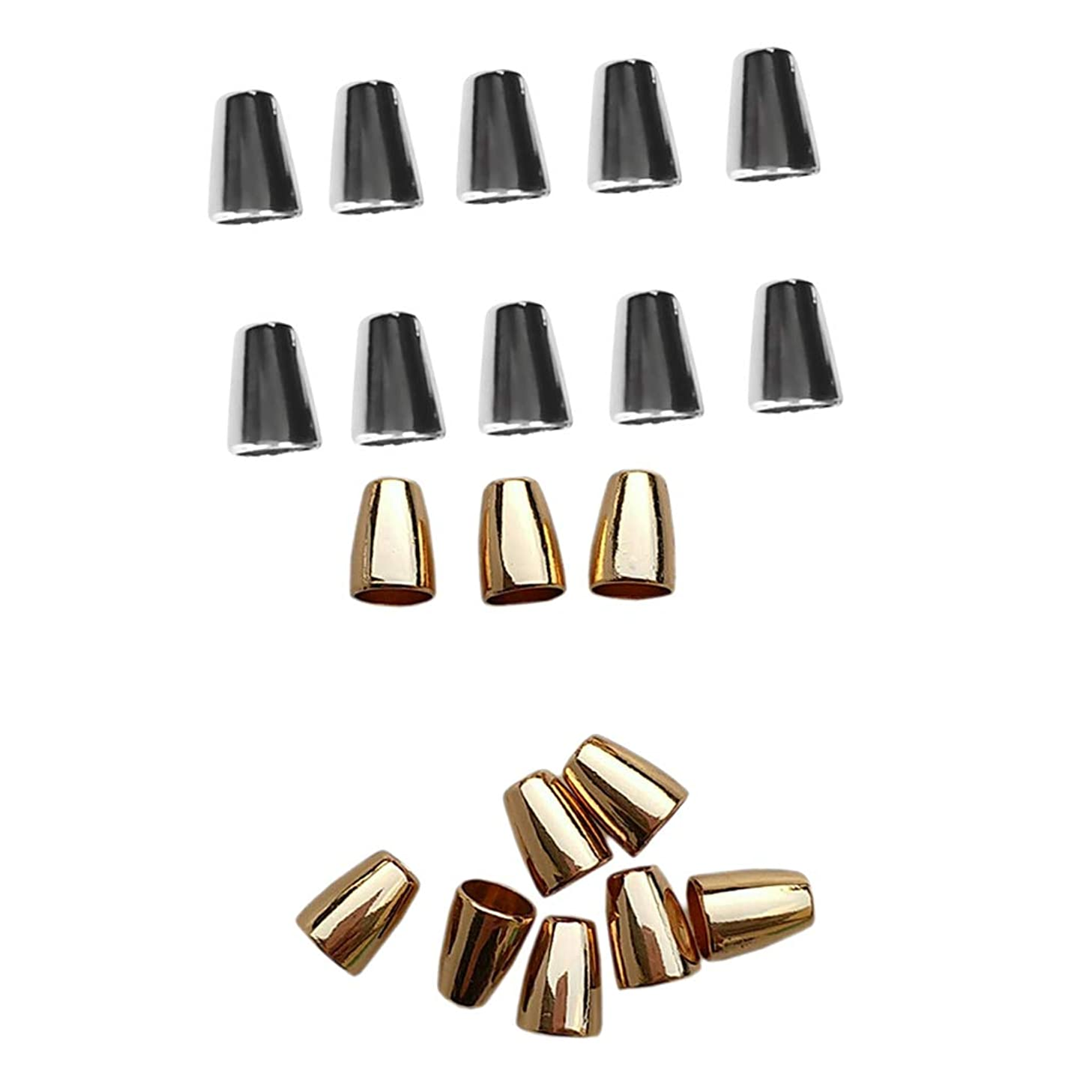 Prettyia 20 Pieces Bell Shaped Cord Fastener Single Hole Cord Lock Stoppers Dia 4mm Gold Silver