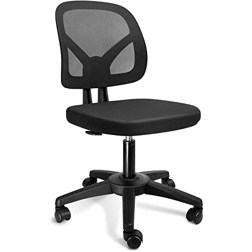 Kolliee Armless Office Chair Mesh Ergonomic Small Desk Chair Armless Adjustable Swivel Black Computer Task Chair No Armrest Mid Back Home Office Chair For Small Spaces Kitchen Dining