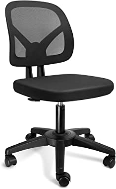KOLLIEE Armless Mesh Office Chair Ergonomic Comfortable Armless Desk Chair Small Black Adjustable Computer Chair No Armrest M