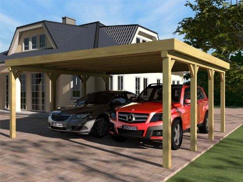 *Carport Flachdach SILVERSTONE III 600×600 cm Bausatz Flachdachcarport*