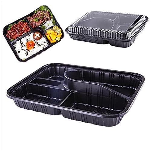 Pack de 12 Fiambreras Bento/Bandejas para Comidas, Con Tapa, Apilables, Resistentes Microondas y Congelador. Caja de Almuerzo/Comida/Cena, para ensaladas y arroz - 26x20x5 (Negro)