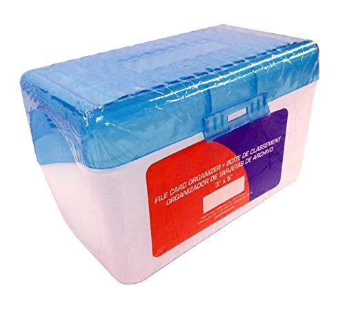 "Plastic Index Card Case for 3"" X 5"" Sized Index Cards - Holds 300 Index Cards! (Random Color, Black or Blue)"