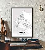 ZWXDMY Leinwand Bild,Australien Darwin City Map Schwarze