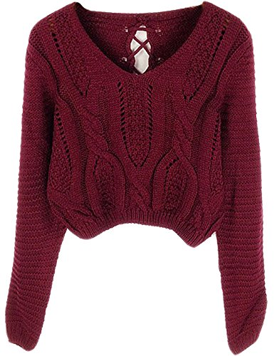 PrettyGuide Women's Long Sleeve Eyelet Cable Lace Up Crop Top Burgundy S
