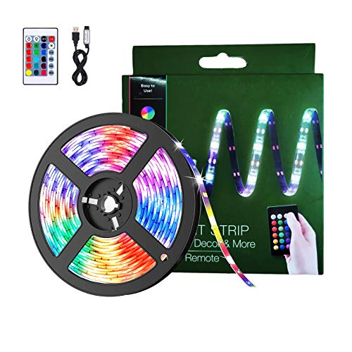 BACKTURE Luces LED Habitacion, 2M Tira LED 60 LED RGB 5050 Luz Led Multicolor con Con Remoto,16 RGB Colores y 4 Modos, Luces Decorativas para Habitación, Dormitorio, Mesa Gaming